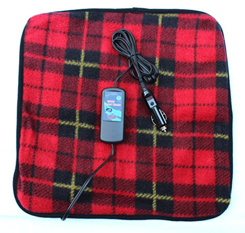 Car Cozy 2 Mini 12-volt Heated Travel Pad (Red Plaid, 16'x 16') with Patented Safety Timer by Trillium Worldwide