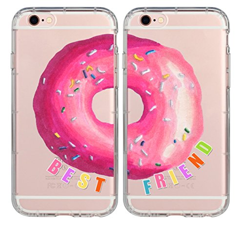 iPhone Couple Case,BFF Best Friends Sweet Donut Food Foodie Every Trouble Makes Needs A Partner in Crime Cute Sister Funny Matching Thing Cases for Girls Teens Kids foriPhone 7 Plus & iPhone 6