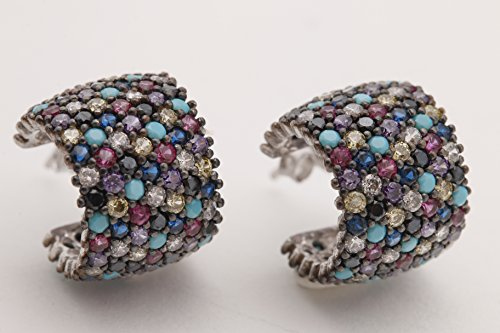 7 Lines Row High Qualty Turkish Handmade Jewelry Turquoise Amethyst Onyx Sapphire Ruby Topaz Rhodium 925 Sterling Silver Hoop Earrings