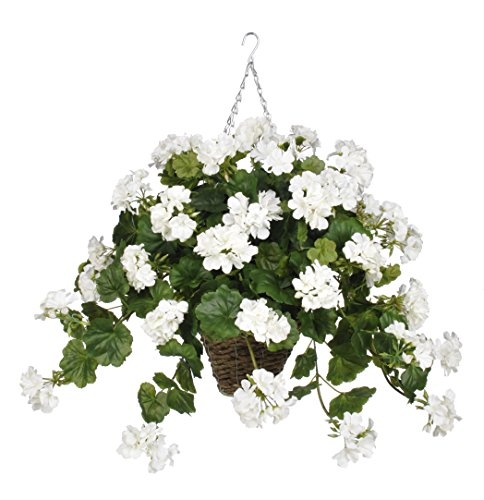 House of Silk Flowers Artificial White Geranium in Square Hanging Basket