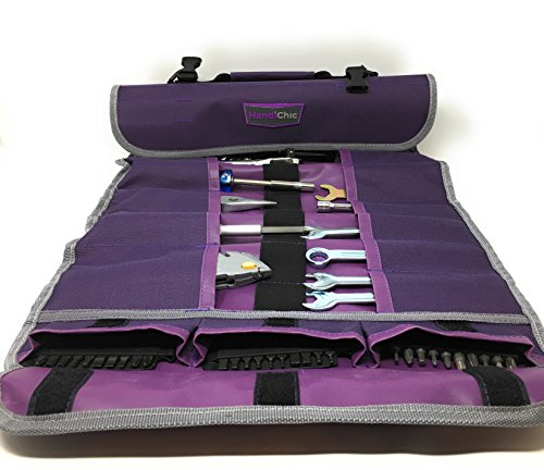 25 Pocket Tool Roll Up Organizer, Purple Tool Bag Heavy Duty Clips for Closure. Holder Includes Hand and Adjustable Shoulder Strap for Easy Transport.