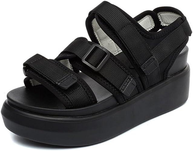 chaussure ouverte scratch noir femme