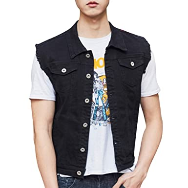 6068f336426 SUNFURA Men's Casual Denim Vest Regular Fit Distressed Sleeveless Jean  Jacket(Black ...