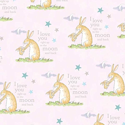 Clothworks Guess How Much I Love You Bunny Toile Book Light Pink
