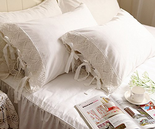 Idyllic Life One Piece White Wide Crochet Lace 100% Cotton Pillowcase 14 (King 20
