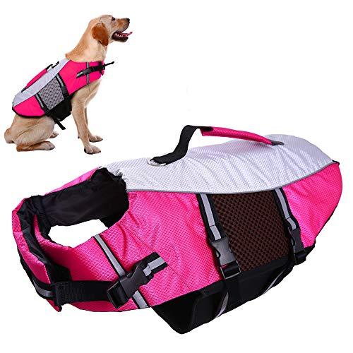 Dog Life Vest Jacket for Swimming kayaking boating Lifesaver Coat for Small Medium Large Xl Dogs Pet Swimsuit Preserver Flotation Device Reflective Adjustable High Visibility Quick Release lifeguards ()