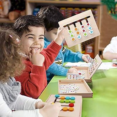Symiu Juguetes Montessori Tablero Juego de Madera Puzzles Infantiles con Tarjetas de Patrón y Disco de Color Juguete De Rompecabezas Madera para Niños 3 4 5 Años: Amazon.es: Juguetes y juegos