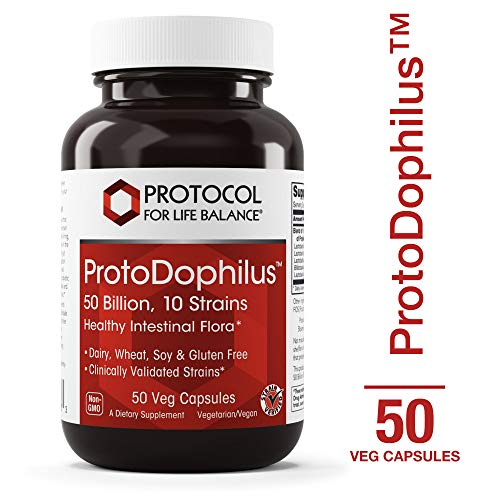 Protocol For Life Balance – ProtoDophilus™ – 50 Billion, 10 Strains – Healthy Intestinal Probiotic Flora to Support Digestive Function and Immune Health – 50 Veg Capsules