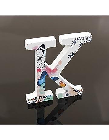 Haodou Letras del Alfabeto de Madera Color Blanco 3D 8 cm Alfabeto para Decorar en Boda