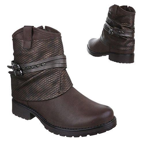 Ital-Design Damen Schuhe Blockabsatz Biker Boots Reißverschluss Boots/Bikerboots Stiefeletten Blockabsatz Braun