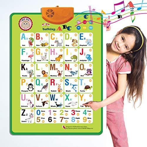 Electronic Interactive Alphabet Wall Chart, Talking ABC & 124s & Music Poster, Best Educational Toy for Toddler. Kids Fun Learning at Daycare, Preschool.Green