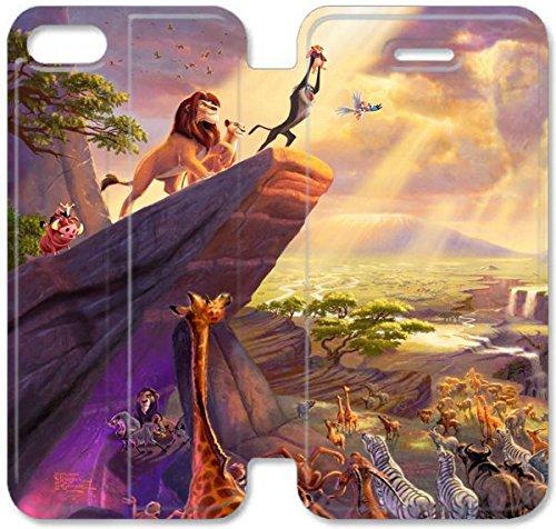 Flip étui en cuir PU Stand pour Coque iPhone 5 5S, bricolage étui de téléphone cellulaire 5 5S Le Roi Lion Simba Scar Mufasa Zazu Timon Pumbaa S6B1OU Coque iPhone Housse en cuir Maker