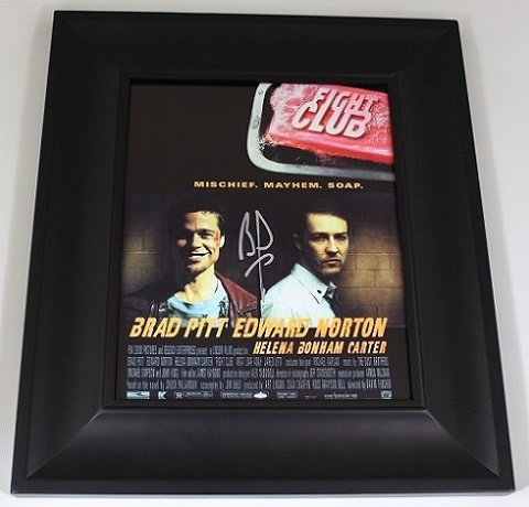 Fight Club Tyler Durden' Brad Pitt Signed Autographed 8x10 Glossy Photo Gallery Framed Loa