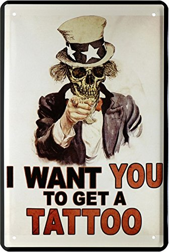 I Want You to get a Tattoo Alemán Cartel de chapa 20 x 30 Retro Chapa 1494