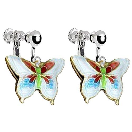 (Enamel Butterfly Clip on Earrings for Girls Women Princess Birthday DIY Jewelry (White))