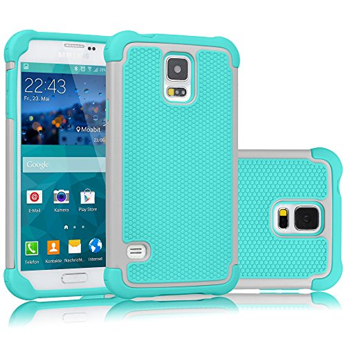 Tekcoo Galaxy S5 Case, [Tmajor] Sturdy [Grey/Turquoise] Shock Absorbing Hybrid Rubber Plastic Impact Defender Rugged Slim Hard Case Cover Bumper for Samsung Galaxy S5 S V I9600 GS5 All Carriers (Samsung Galaxy S5 Mini Tough Case)