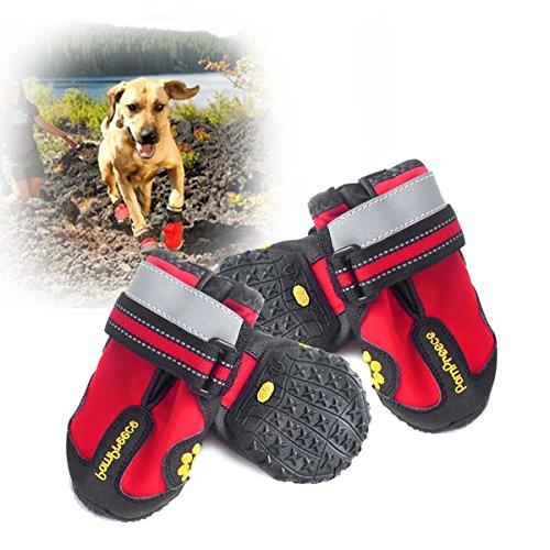 Hapurs wasserdichte Pet Boots Pet wasserdichte Regen Schuhe Cozy Outdoor-Anti-Rutsch-Stiefel für mittlere bis große Hunde 4 Stück / Set von 8 Größen von XXS bis XXXL (Größe: M / 4 #)