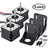 Stepper Motor Nema 17, 3pcs Bipolar Nema 17 Stepper Motor 0.4A 26Ncm(36.8oz.in) 18.4oz.in(13N.cm) 4 Lead 1.8 Deg for 3D Printer/CNC Router engraver DIY with 3Pcs Mounting Bracket + Screw by TopDirect