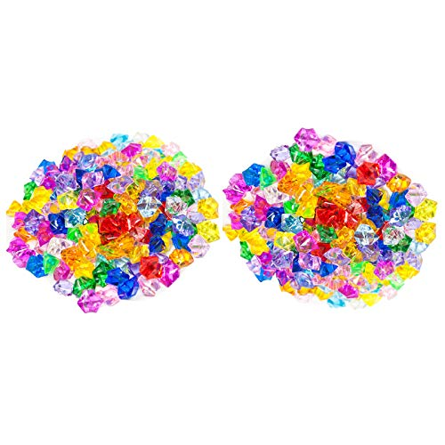 Huji Acrylic Pirate Bulk Colored Jewels Gems Faux Diamond Crystals Treasure Gems for Tables Decorations, Vase Fillers,Wedding or Birthday Decoration, Party Favors for Arts and Crafts (2PK, Assorted)