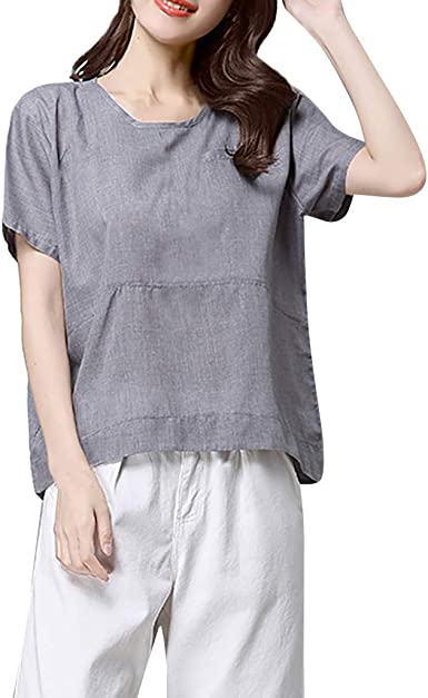 Summer Womens Cotton Linen Loose Tops Ladies Short Sleeve Casual T Shirts Blouse