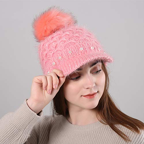 JINGB Home Ladies Cute Winter Plus Velvet Warm Wool Cap Pearls with Diamonds Big Hair Ball Fashion Knit hat (Color : Pink)