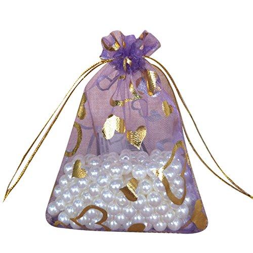 FavourAll - Bolsa de organza con diseño de corazón, bolsa de ...