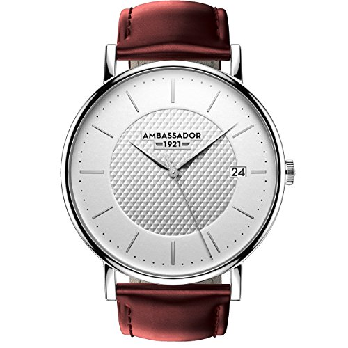 Ambassador Heritage 1921 Silver Case with Burgundy Leather Strap Luxury Men's Watch