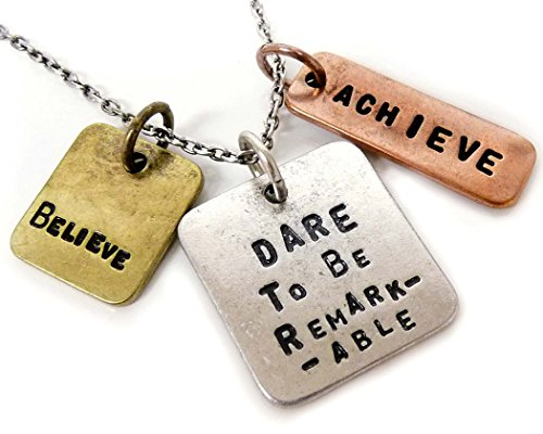 Jewelry Nexus Dare To Be Remarkable Achieve Believe Three Tone Antique Stamped Pendant Charm Necklace