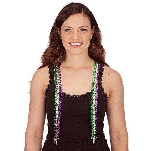 Mardi Gras Sequin Suspenders -