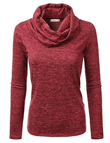 Knit Neck Cowl Sweater (Doublju Cowl Neck Heather Knit Sweater Top for Women with Plus Size (Made in USA) RED Medium)