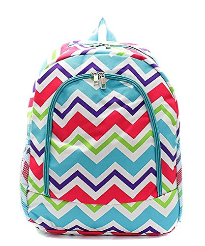 Multi Chevron Stripe Print Zipper Backpack Handbag Agua