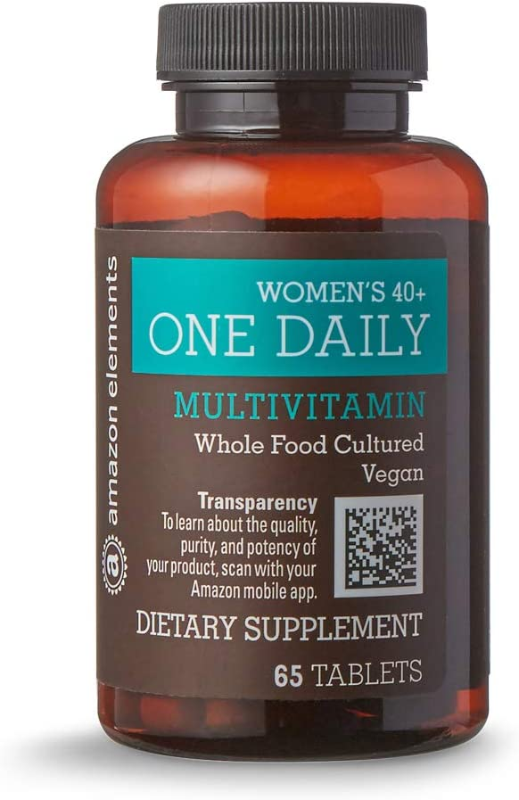 Amazon Elements Women's 40+ One Daily Multivitamin, 66% Whole Food Cultured, Vegan, 65 Tablets, 2 month supply
