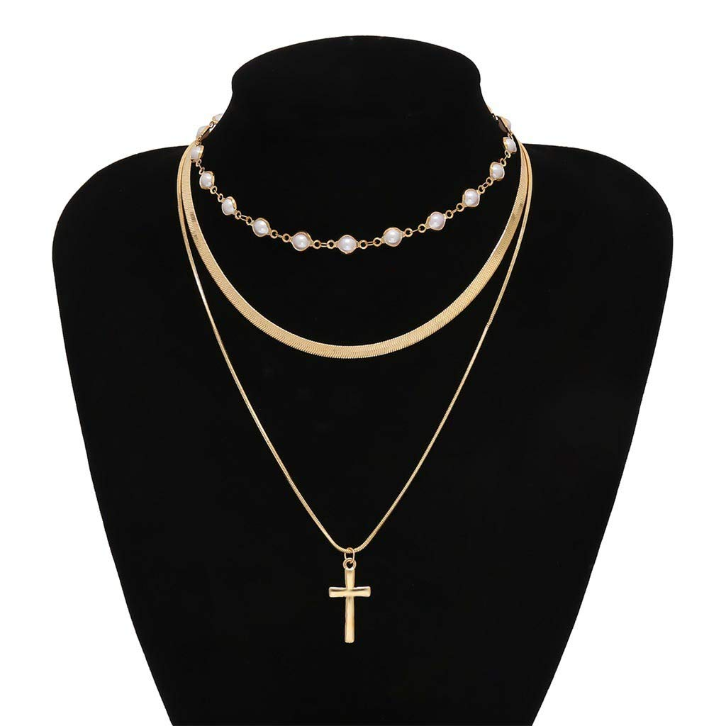 Fashion Chokers Y-Necklaces for Women and Girls D-XinXin Layered Necklace Sliver Sun Pendant Double-Layer Necklaces