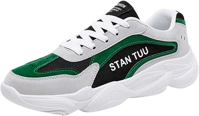 Jodier Zapatillas Deporte Hombre Zapatos para Correr Athletic Cordones Zapatillas de Deporte Respirable para Correr Deportes Zapatos Running Hombre Blanco Rojo Verde 39-44: Amazon.es: Zapatos y complementos
