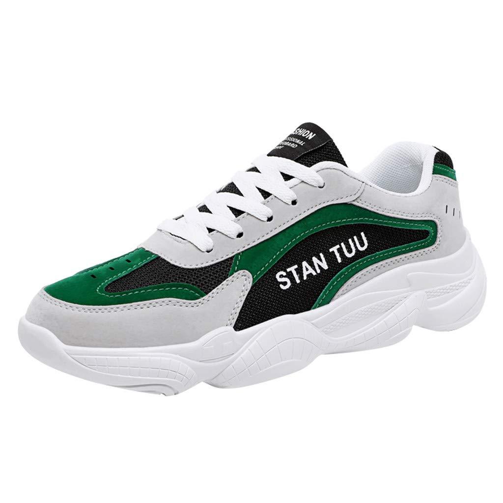 YKARITIANNA Men's Wild Breathable Mesh Shoes Fashion Woven Non-Slip Lightweight Work Shoes Green by YKARITIANNA Shoes