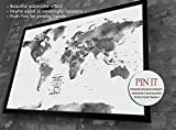 Push Pin World map with watercolor effect, Wedding gift, Gift for Traveler, destination wedding