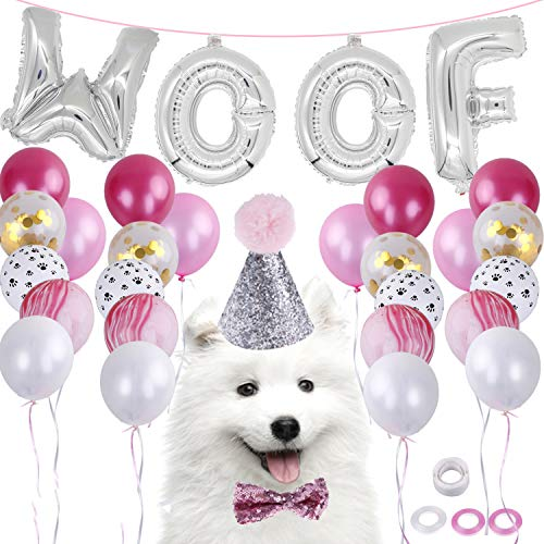 LOCOLO Dog Birthday Party Supplies,20 Pieces Blue Balloons,Party Decorations Paw Balloons,Dog Birthday Bow Tie and Hat,WOOF Letter Latex Balloons,Balloon Ribbon,Balloon Glue(Pink) ()