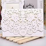 PONATIA 25 PCS Kit di lusso di taglio laser per carta di invito Schede Flora Invito Cardstock con busta e guarnizioni adesive per la festa nuziale (carta bianca)