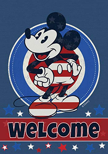 Flagology, Disney,Mickey Mouse, Welcome Red White and Blue Mickey Stars, Patriotic, Outdoor, Large, House Flag 28