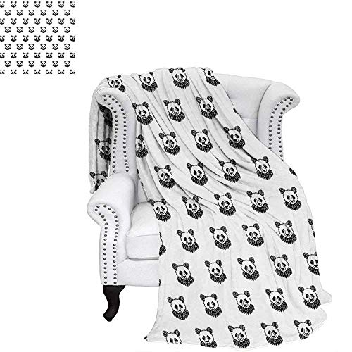 (CHASOEA Tattoo Throw Blanket Stylized Panda Bear Portraits Cute Mascots Pattern for Children in Black and White Warm Microfiber All Season Blanket for Bed or Couch 70