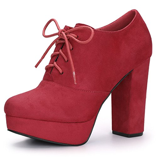 up K Platform Chunky Allegra Women's Red Booties Lace Heel xPYpxqn6