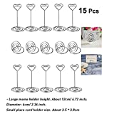15pcs Heart Shape Wedding Party Favor Clips Stainless Steel Table Number Card Clips Tag Stands Table Number Holder Table Place Card Holder, Two Shape