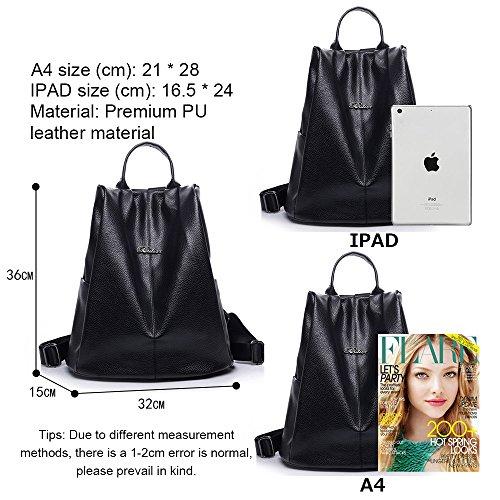 (JVP1058-B) mochila de cuero de la PU de las mujeres azul oscuro rojo negro anillo impermeable Western bolso lindo ligero de gran capacidad suburbano niñas de la escuela secundaria mochila Negro