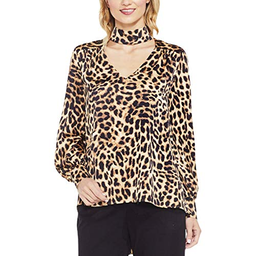 Blouse Animal Print (Vince Camuto Womens Long Sleeve Exotic Animal Choker V-Neck Blouse Rich Black SM One Size)