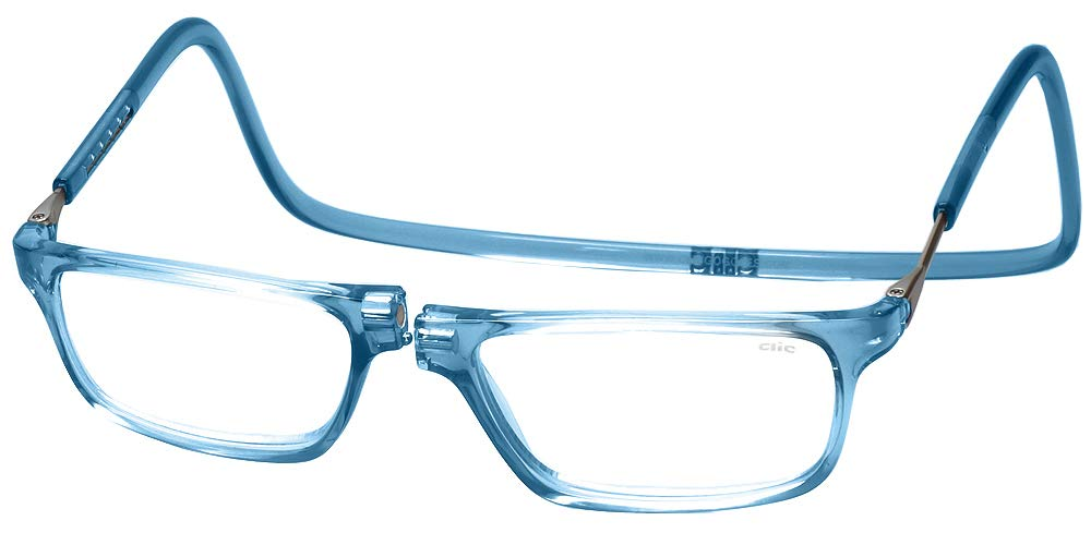 Clic Magnetic Executive Reading Glasses in Blue Jean with Blue Light Filter + A/R Lenses +1.25
