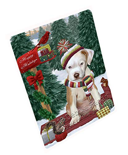 Merry Christmas Woodland Sled Pitbull Dog Cutting Board C70116 (Small 12