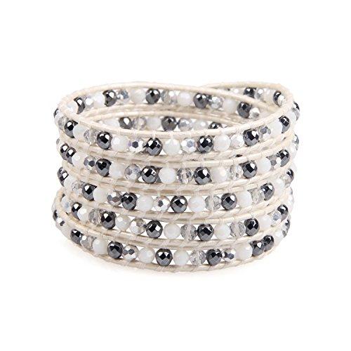KELITCH Natural Leather Bracelet Handmade Healing Hematite Beads Wrap Bracelet for Women Unisex