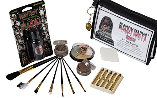 Zombie Makeup Kit By Bloody Mary - Halloween Costume Special Effects Palette - Walking Dead FX Makeup Tools - 5 Crayons, Blood, Setting Powder, 4 Application Brushes, 1 Sponge - Carrying Case Included (Zombie Fx Makeup)
