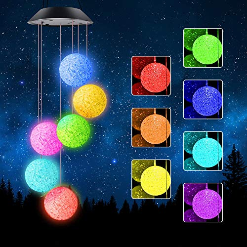 Intsun Solar Wind Chimes Outdoor 6 Crystal Ball Solar Powered Wind Chime Lights with S Hook Waterproof LED Changing Colors Lighted Windchimes for Yard, Patio, Garden, Home, Indoor, Festival Decor