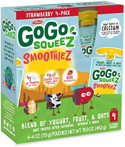 GoGo squeeZ SmoothieZ, Strawberry, 4 Ounce (24 Pouches) | Gluten Free Yogurt, Fruit, & Oat Pouches | Individual Snacks for Kids | No Preservatives | Reclosable, BPA Free Convenient Pouches